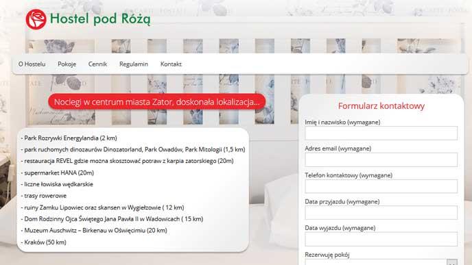 prezentacja strony internetowej hostelu