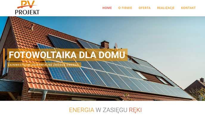 zdjęcie strony internetowej paneli solarnych